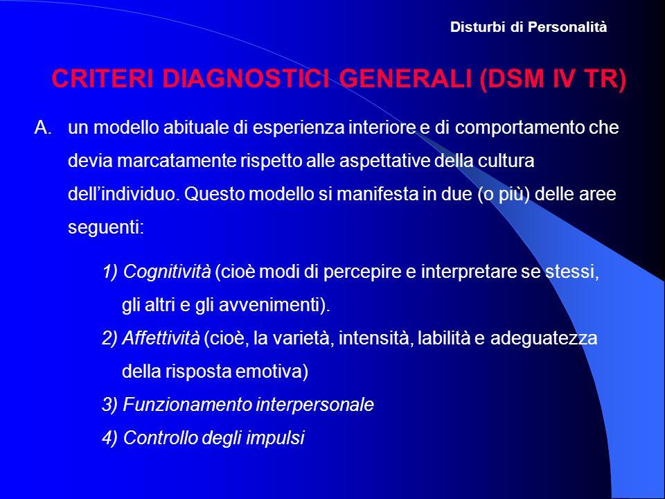 CRITERI DIAGNOSTICI GENERALI (DSM IV TR)