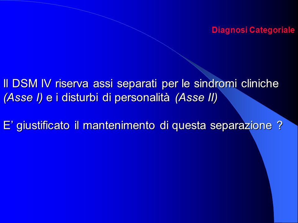 Diagnosi Categoriale Il DSM IV riserva assi separati per le sindromi cliniche (Asse I) e i disturbi di personalità (Asse II) E' giustificato il mantenimento di questa separazione