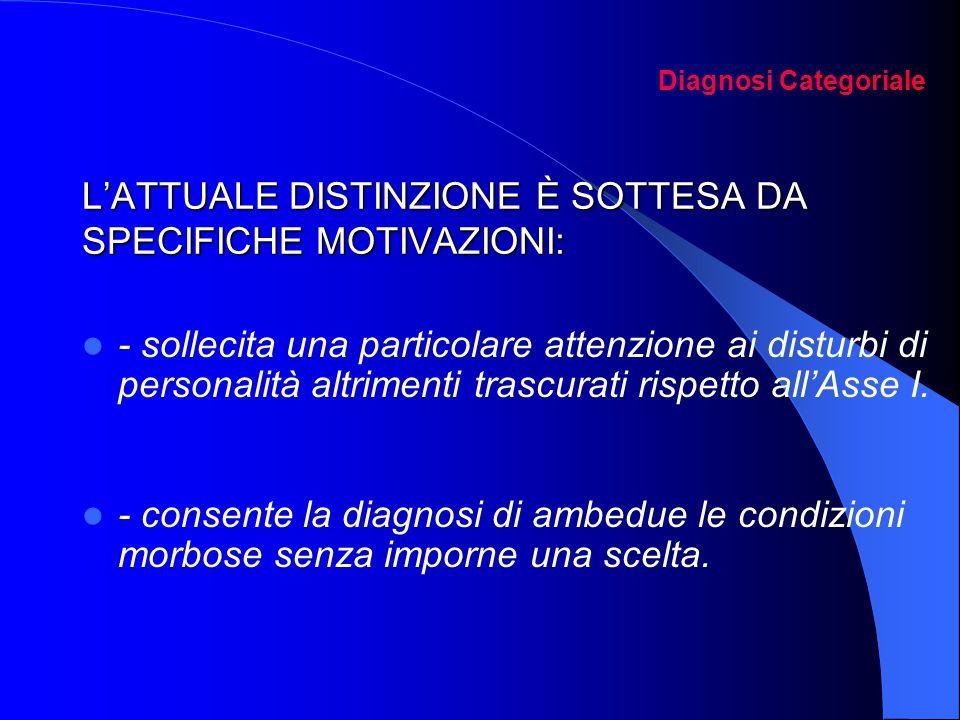 Diagnosi Categoriale L'ATTUALE DISTINZIONE È SOTTESA DA SPECIFICHE MOTIVAZIONI: