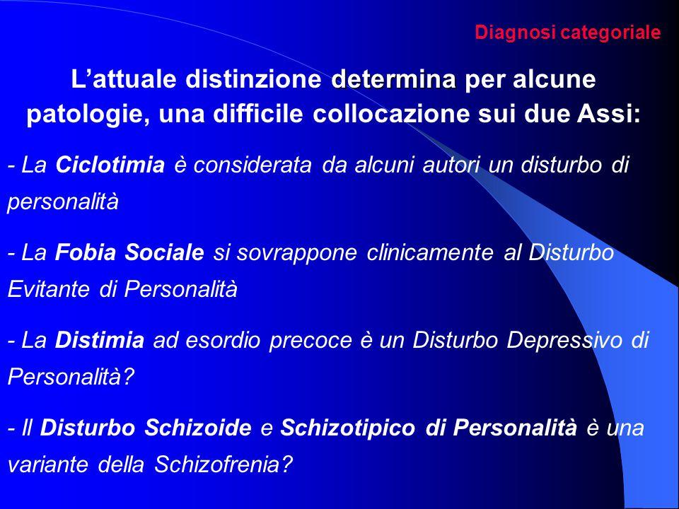 Diagnosi categoriale L'attuale distinzione determina per alcune patologie, una difficile collocazione sui due Assi: