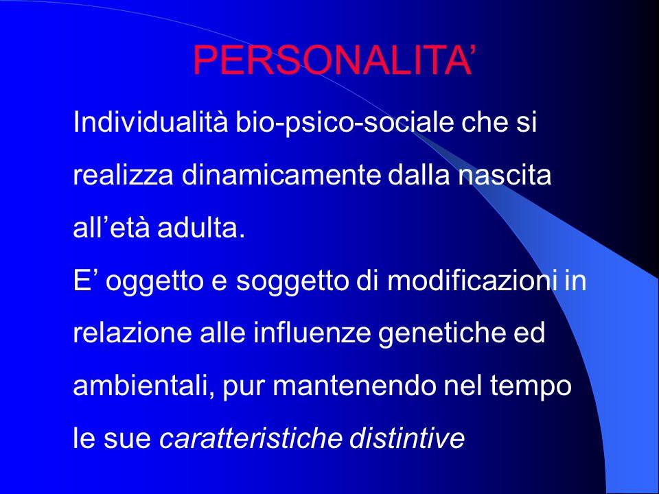 PERSONALITA' Individualità bio-psico-sociale che si realizza dinamicamente dalla nascita all'età adulta.