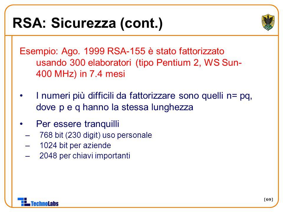 RSA: Sicurezza (cont.) Esempio: Ago. 1999 RSA-155 è stato fattorizzato usando 300 elaboratori (tipo Pentium 2, WS Sun-400 MHz) in 7.4 mesi.