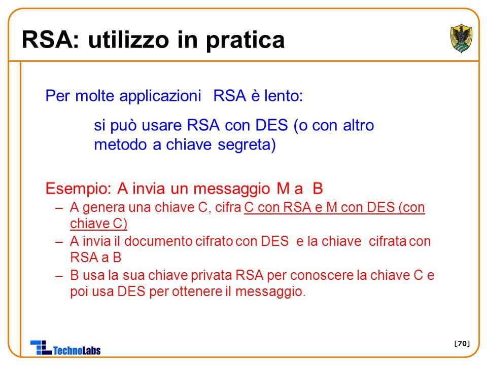 RSA: utilizzo in pratica