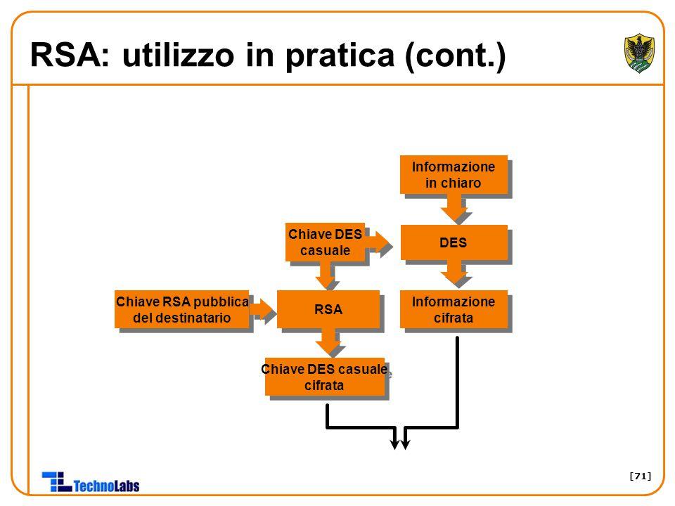 RSA: utilizzo in pratica (cont.)