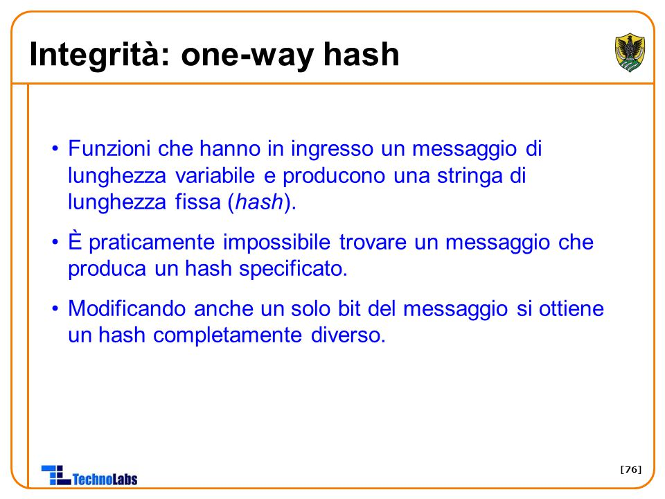 Integrità: one-way hash