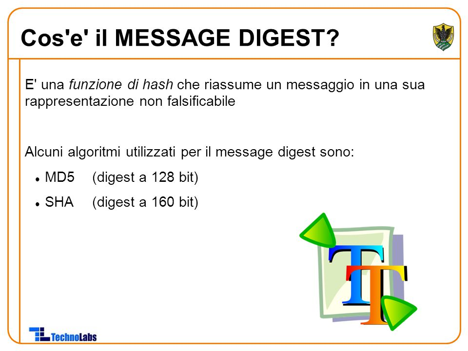 Cos e il MESSAGE DIGEST E una funzione di hash che riassume un messaggio in una sua rappresentazione non falsificabile.