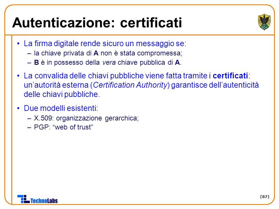 Autenticazione: certificati