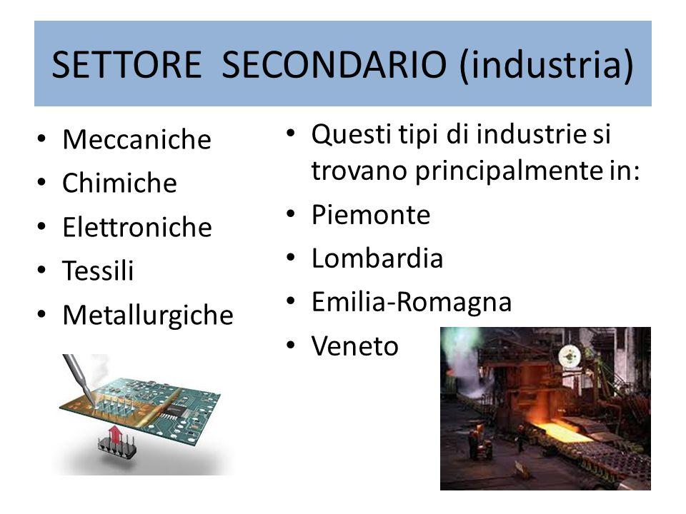 SETTORE SECONDARIO (industria)