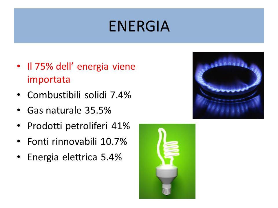 ENERGIA Il 75% dell' energia viene importata Combustibili solidi 7.4%