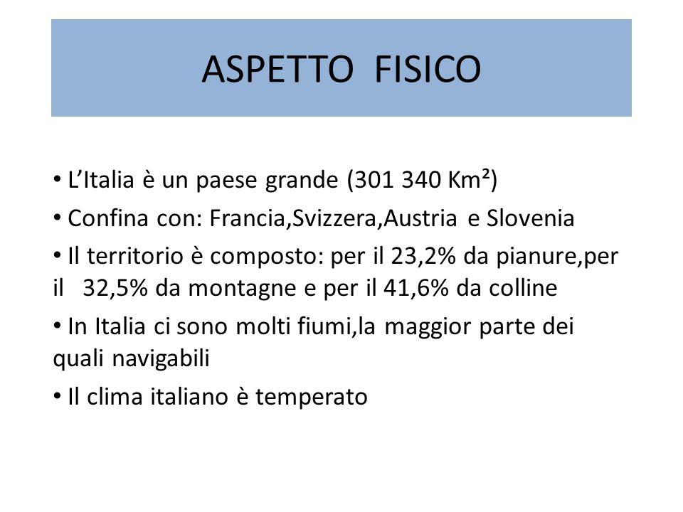 ASPETTO FISICO L'Italia è un paese grande (301 340 Km²)