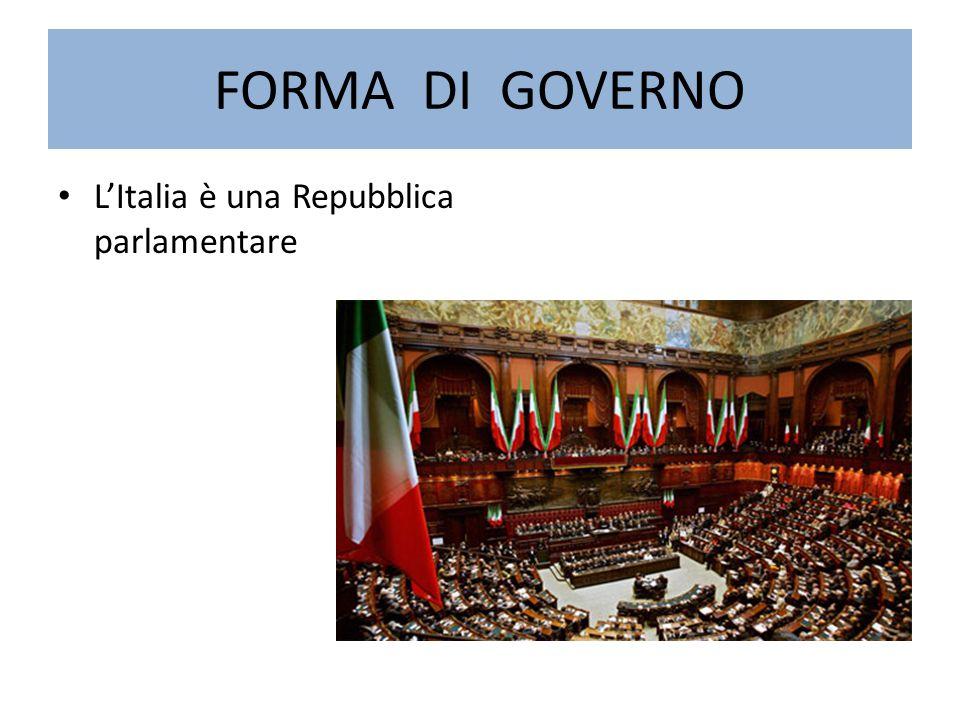 FORMA DI GOVERNO L'Italia è una Repubblica parlamentare