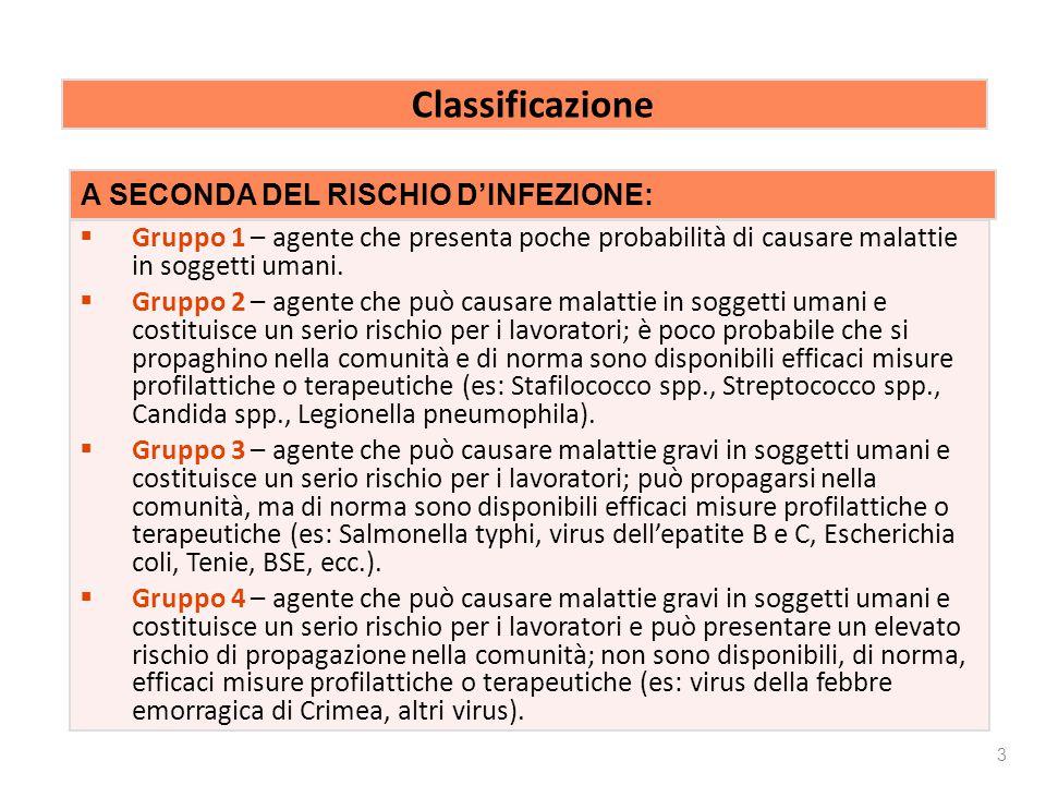 Rischio biologico Classificazione A SECONDA DEL RISCHIO D'INFEZIONE:
