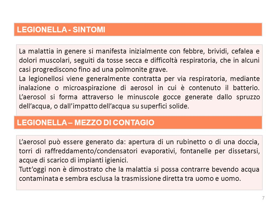 Rischio biologico LEGIONELLA - SINTOMI