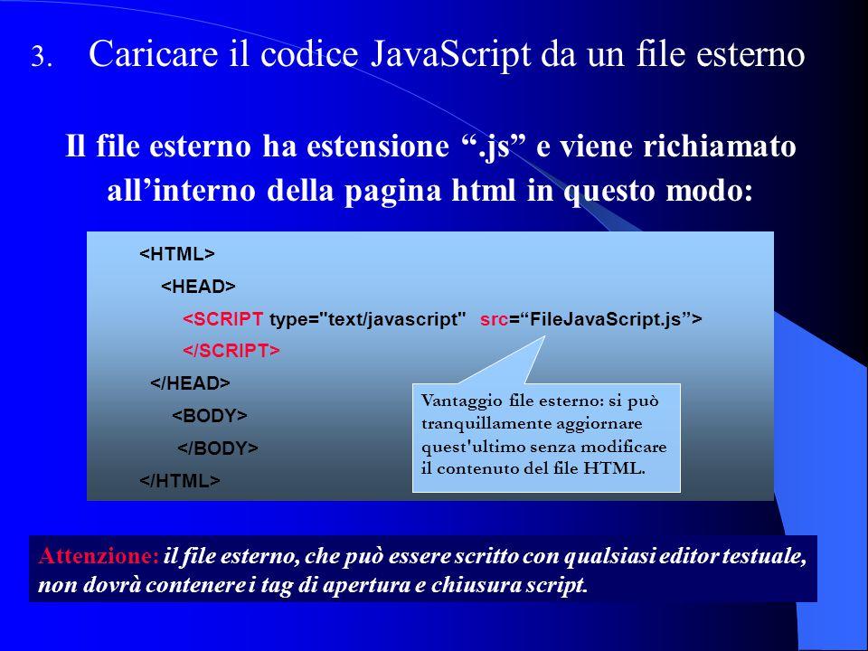 Caricare il codice JavaScript da un file esterno