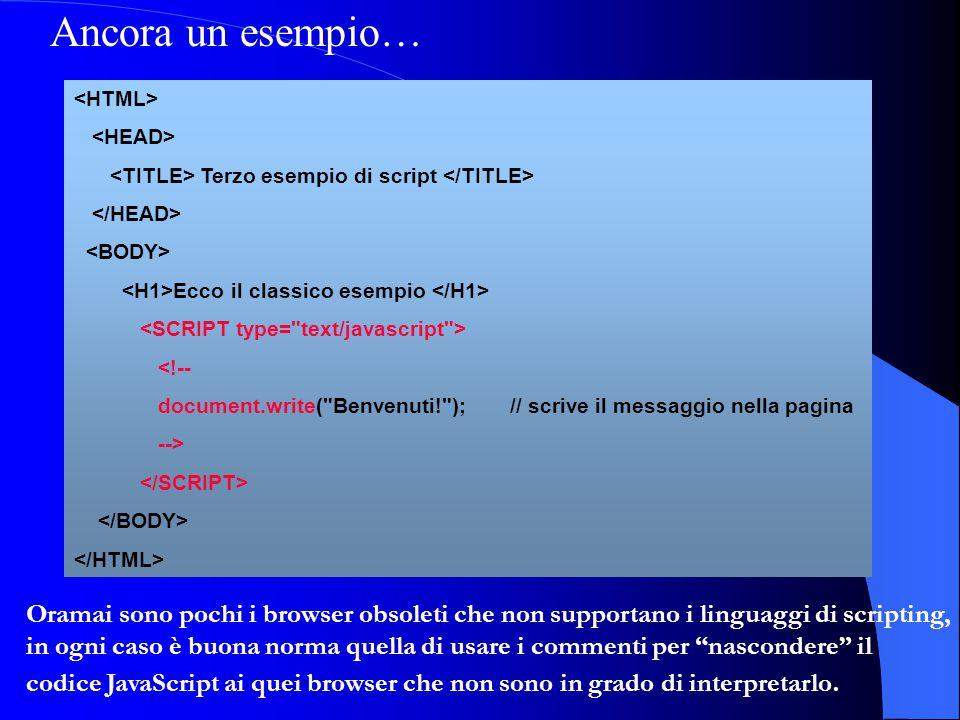 Ancora un esempio… <HTML> <HEAD> <TITLE> Terzo esempio di script </TITLE> </HEAD> <BODY> <H1>Ecco il classico esempio </H1>