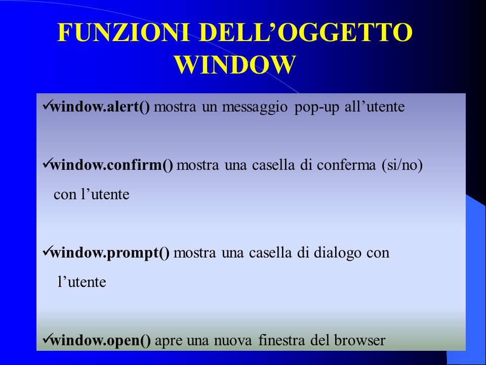 FUNZIONI DELL'OGGETTO WINDOW