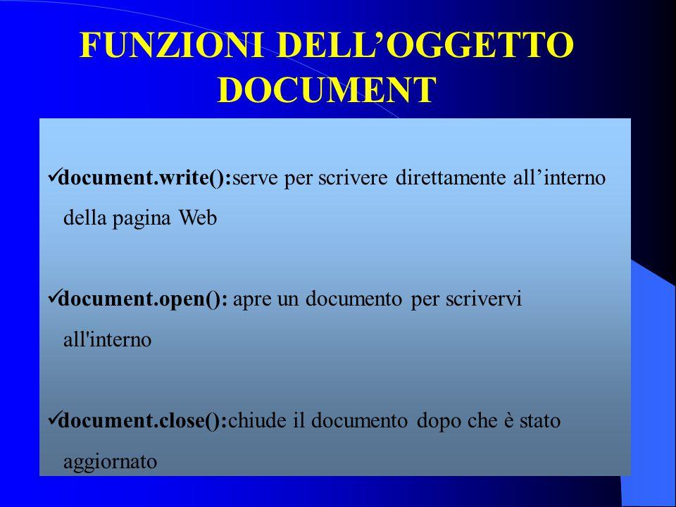 FUNZIONI DELL'OGGETTO DOCUMENT