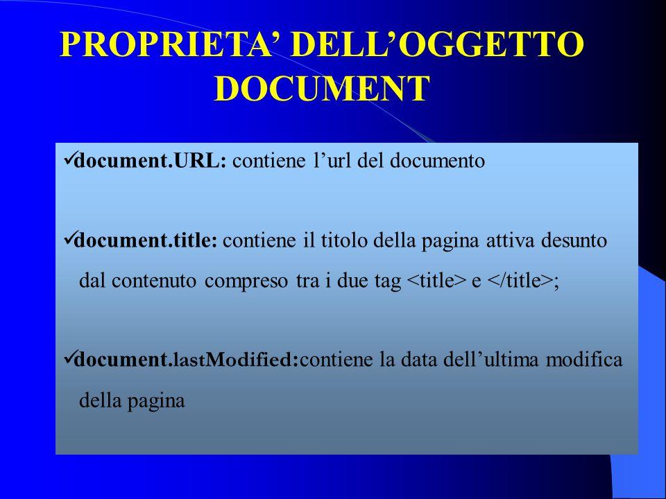 PROPRIETA' DELL'OGGETTO DOCUMENT