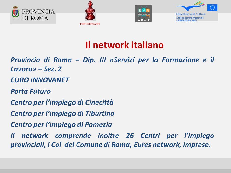 EURO INNOVANET Il network italiano. Provincia di Roma – Dip. III «Servizi per la Formazione e il Lavoro» – Sez. 2.