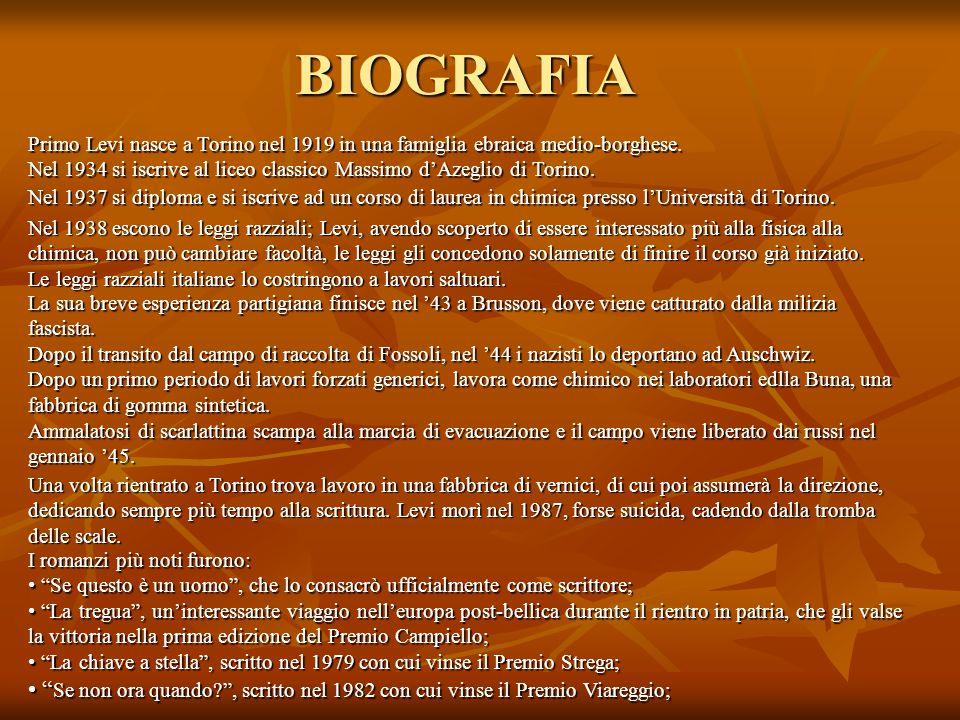 BIOGRAFIA Primo Levi nasce a Torino nel 1919 in una famiglia ebraica medio-borghese.