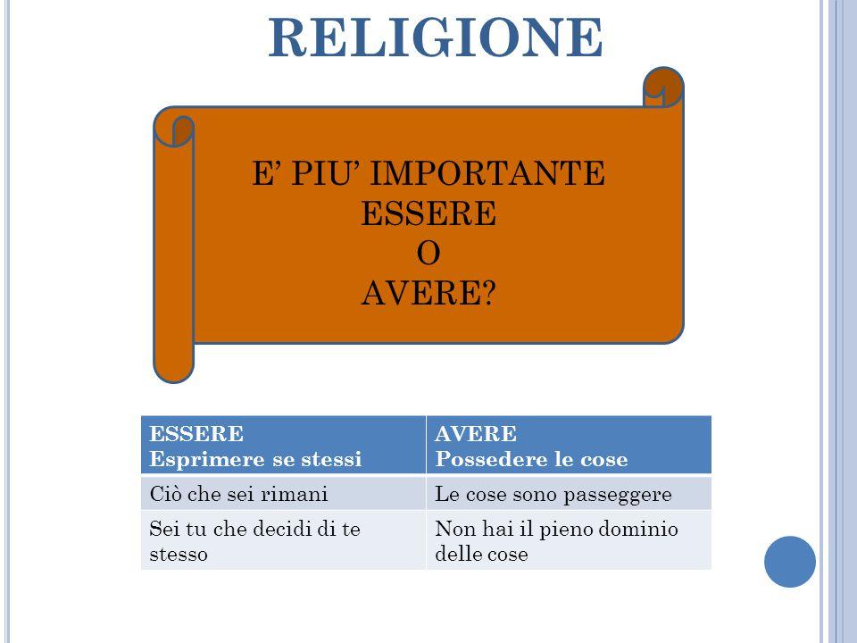 RELIGIONE E' PIU' IMPORTANTE ESSERE O AVERE ESSERE