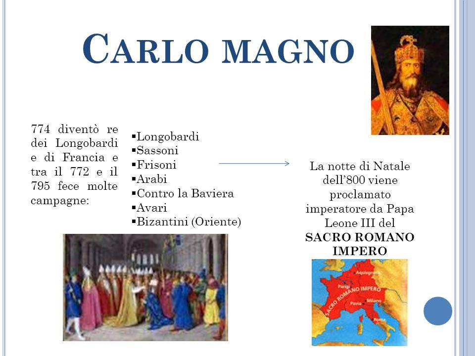 Carlo magno 774 diventò re dei Longobardi e di Francia e tra il 772 e il 795 fece molte campagne: Longobardi.