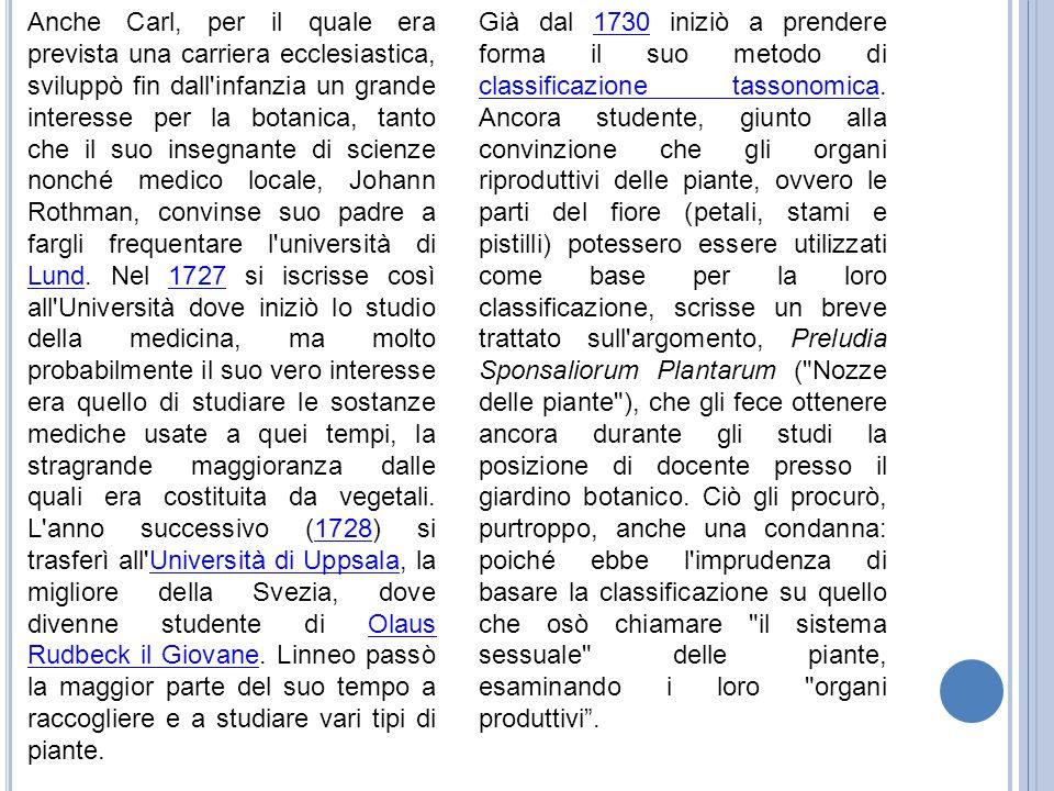 Anche Carl, per il quale era prevista una carriera ecclesiastica, sviluppò fin dall infanzia un grande interesse per la botanica, tanto che il suo insegnante di scienze nonché medico locale, Johann Rothman, convinse suo padre a fargli frequentare l università di Lund. Nel 1727 si iscrisse così all Università dove iniziò lo studio della medicina, ma molto probabilmente il suo vero interesse era quello di studiare le sostanze mediche usate a quei tempi, la stragrande maggioranza dalle quali era costituita da vegetali. L anno successivo (1728) si trasferì all Università di Uppsala, la migliore della Svezia, dove divenne studente di Olaus Rudbeck il Giovane. Linneo passò la maggior parte del suo tempo a raccogliere e a studiare vari tipi di piante.