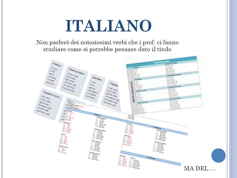italiano Non parlerò dei noiosissimi verbi che i prof. ci fanno studiare come si potrebbe pensare dato il titolo.