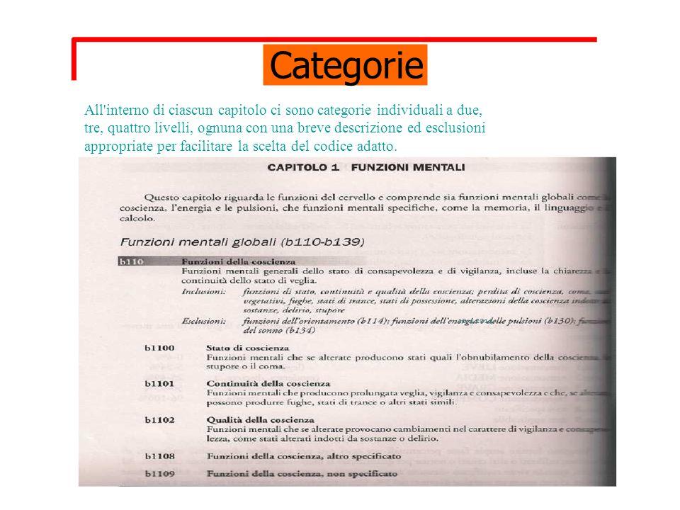 Categorie All interno di ciascun capitolo ci sono categorie individuali a due, tre, quattro livelli, ognuna con una breve descrizione ed esclusioni.