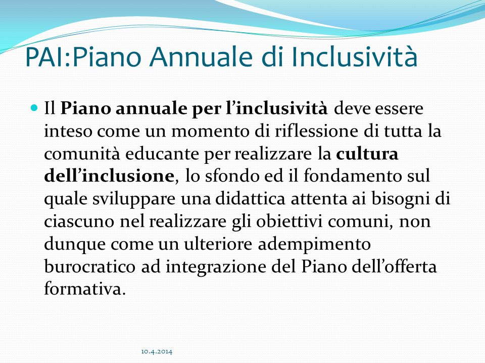 PAI:Piano Annuale di Inclusività