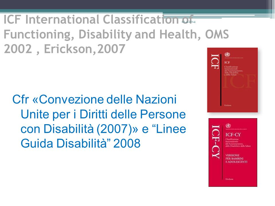 ICF International Classification of Functioning, Disability and Health, OMS 2002 , Erickson,2007