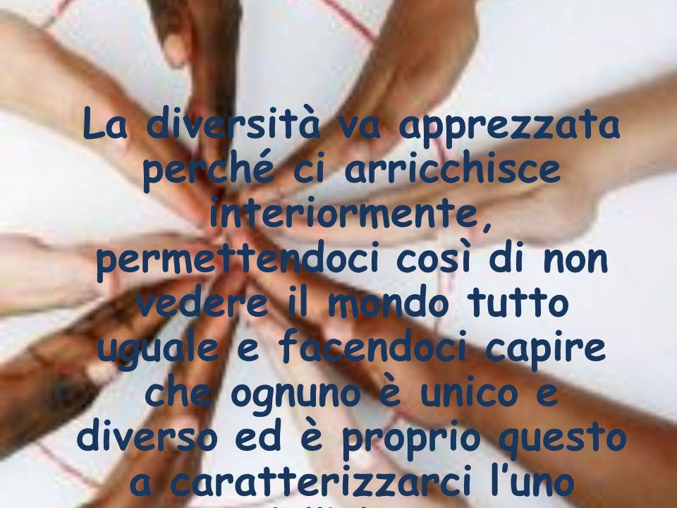 La diversità va apprezzata perché ci arricchisce interiormente, permettendoci così di non vedere il mondo tutto uguale e facendoci capire che ognuno è unico e diverso ed è proprio questo a caratterizzarci l'uno dall'altro.