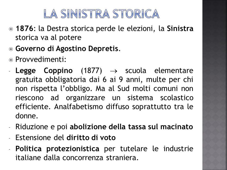 LA SINISTRA STORICA 1876: la Destra storica perde le elezioni, la Sinistra storica va al potere. Governo di Agostino Depretis.