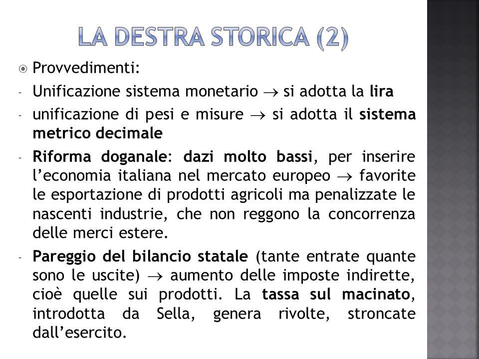 LA destra STORICA (2) Provvedimenti: