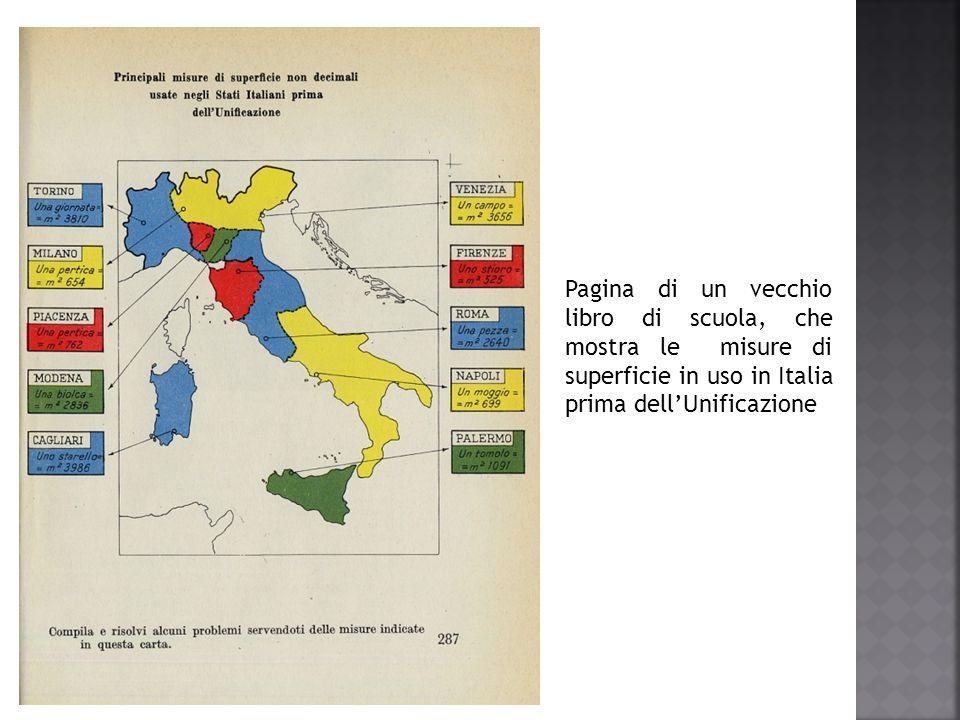 Pagina di un vecchio libro di scuola, che mostra le misure di superficie in uso in Italia prima dell'Unificazione