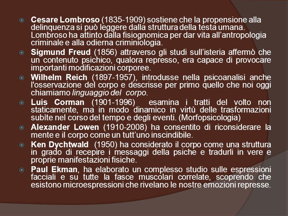Cesare Lombroso (1835-1909) sostiene che la propensione alla delinquenza si può leggere dalla struttura della testa umana. Lombroso ha attinto dalla fisiognomica per dar vita all'antropologia criminale e alla odierna criminiologia.