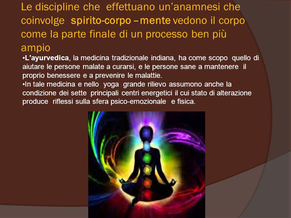 Le discipline che effettuano un'anamnesi che coinvolge spirito-corpo –mente vedono il corpo come la parte finale di un processo ben più ampio