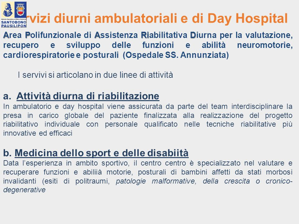 Servizi diurni ambulatoriali e di Day Hospital