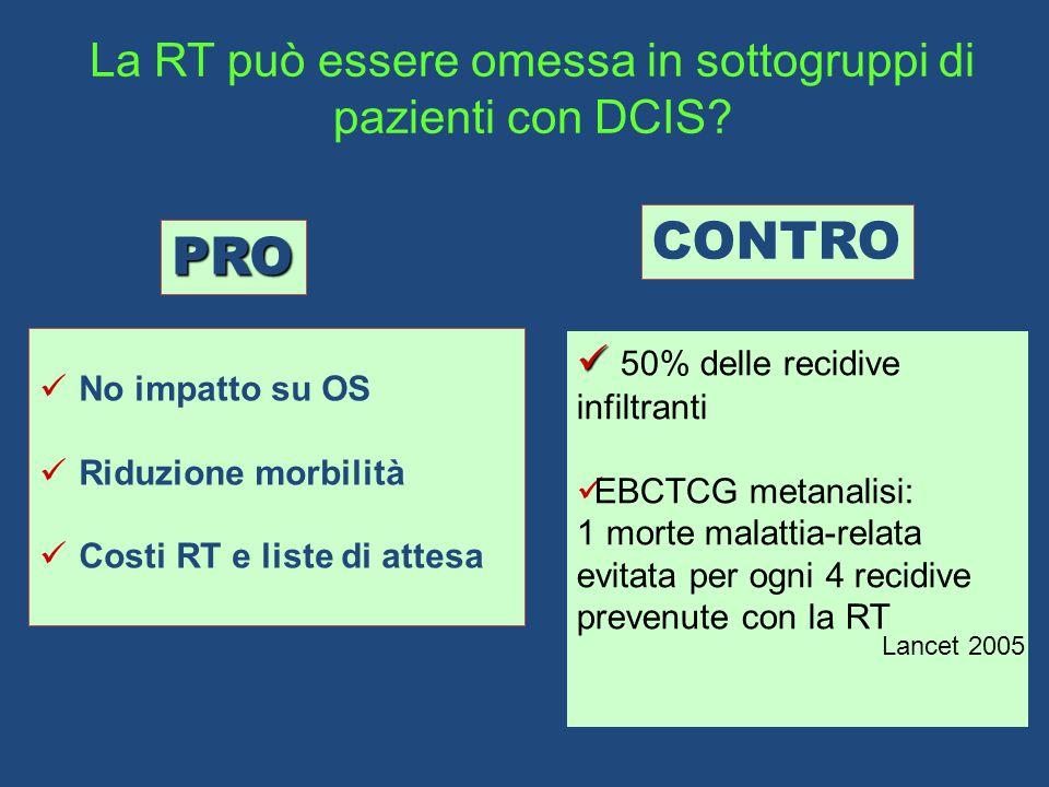 La RT può essere omessa in sottogruppi di pazienti con DCIS