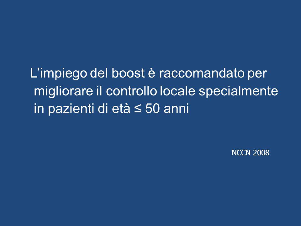 L'impiego del boost è raccomandato per migliorare il controllo locale specialmente in pazienti di età ≤ 50 anni