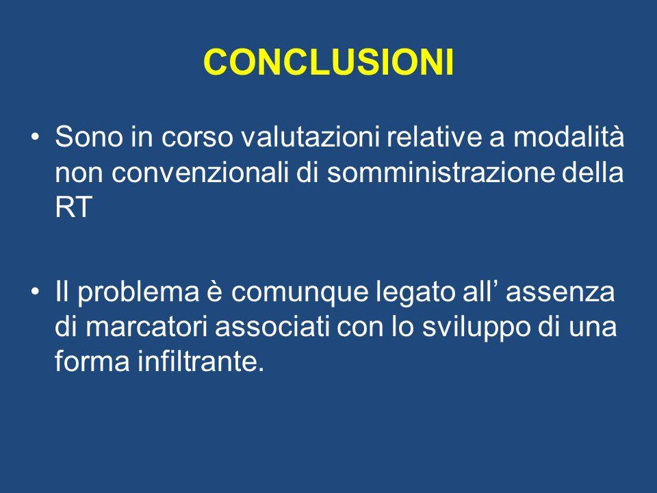 CONCLUSIONI Sono in corso valutazioni relative a modalità non convenzionali di somministrazione della RT.