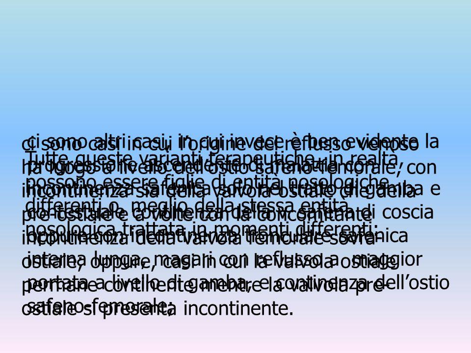 ci sono altri casi, in cui invece è ben evidente la progressione ascendente di malattia con incontinenza safenica solo nel tratto di gamba e contestuale continenza della v. safena di coscia oppure con incontinenza tronculare safenica interna lunga, magari con reflusso a maggior portata a livello di gamba, e continenza dell'ostio safeno-femorale;