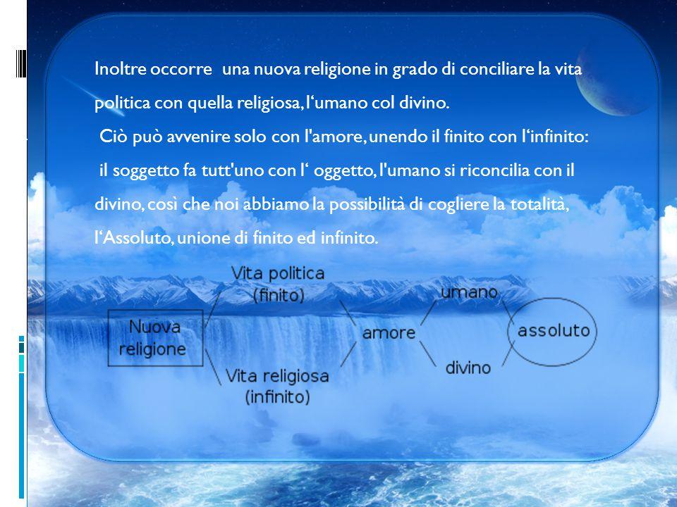 Inoltre occorre una nuova religione in grado di conciliare la vita politica con quella religiosa, l'umano col divino.