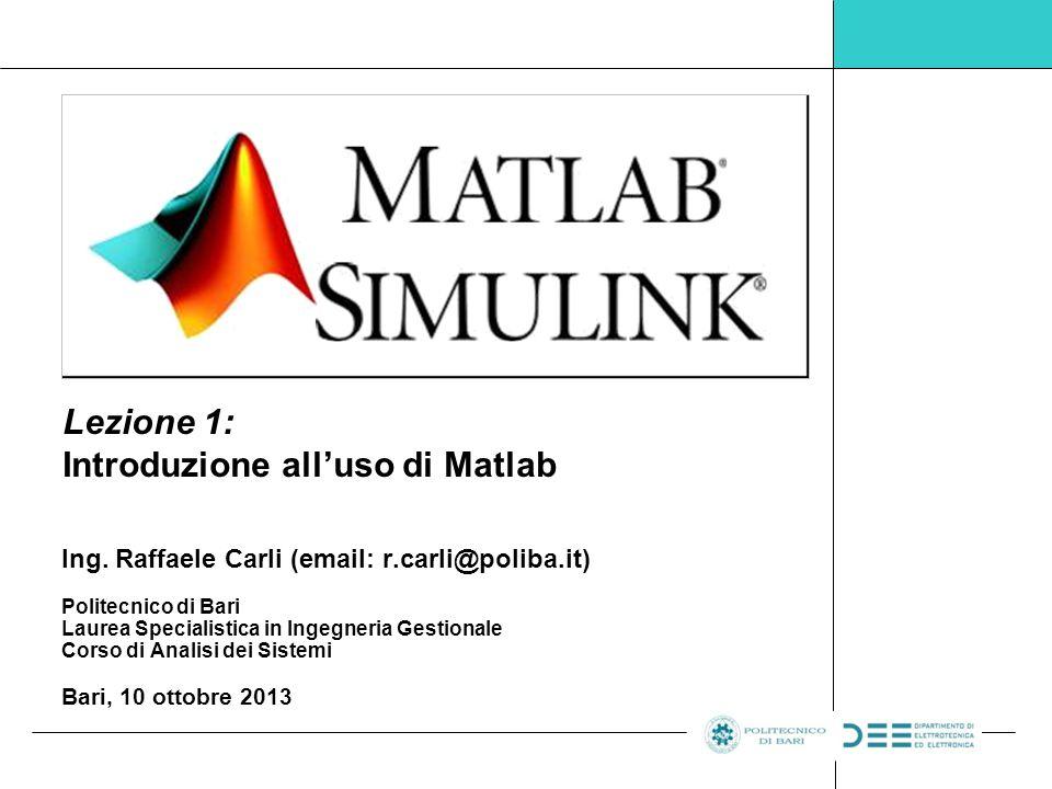 Lezione 1: Introduzione all'uso di Matlab