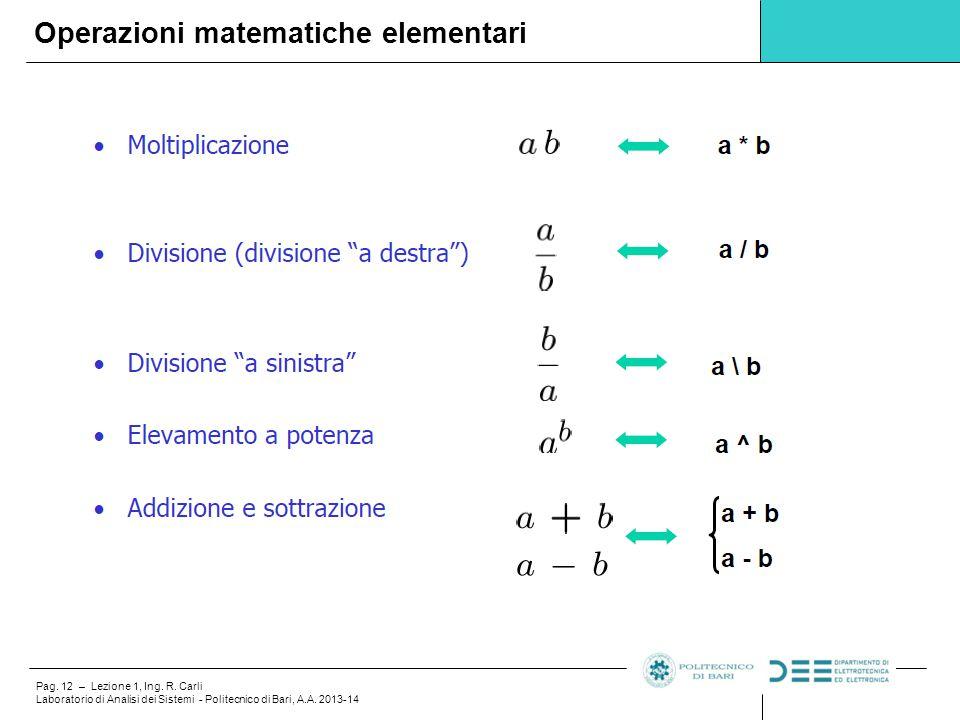 Operazioni matematiche elementari