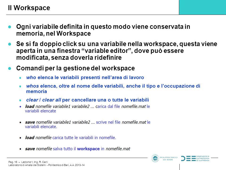 Il Workspace Ogni variabile definita in questo modo viene conservata in memoria, nel Workspace.