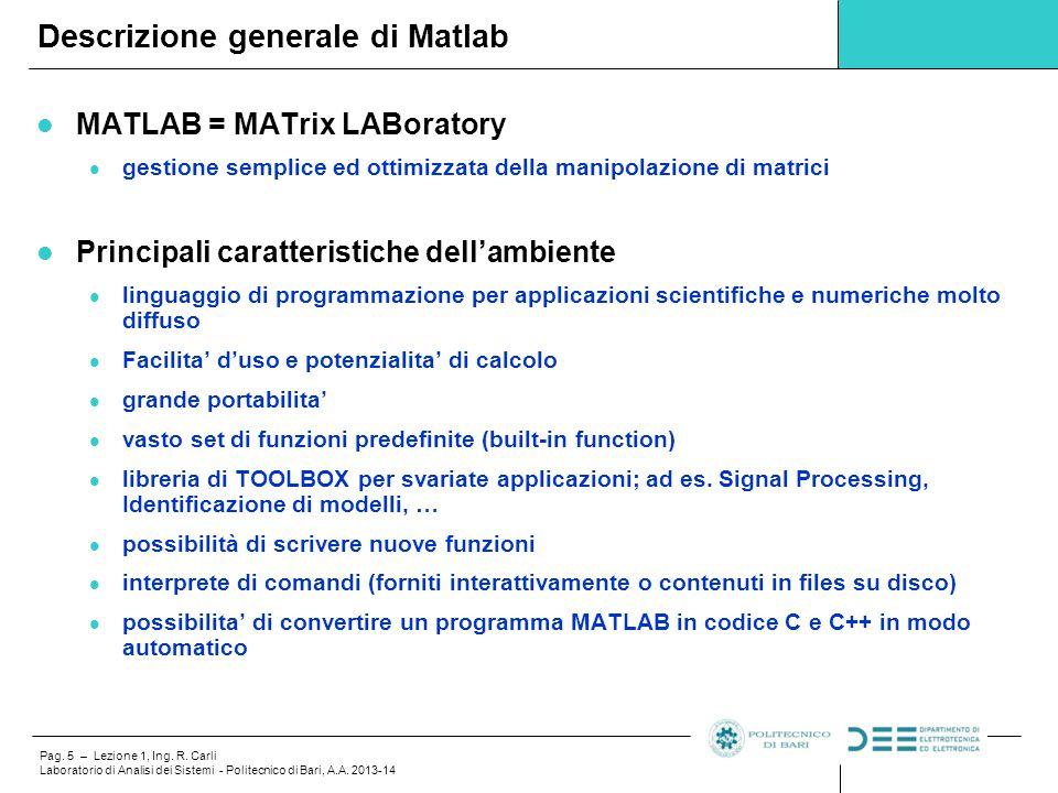 Descrizione generale di Matlab