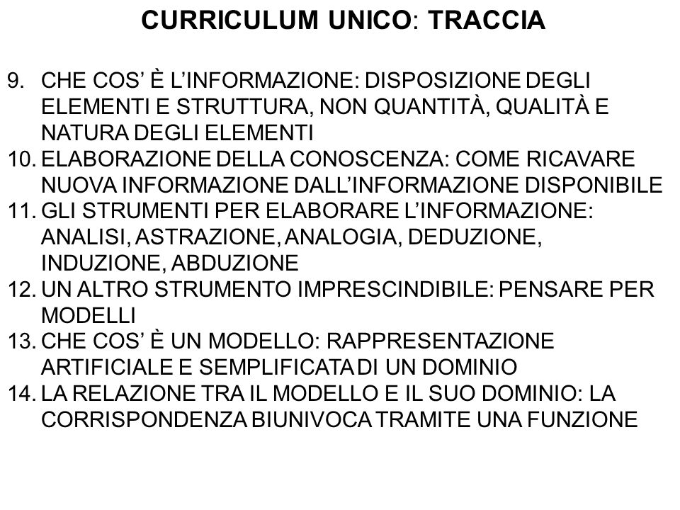 CURRICULUM UNICO: TRACCIA