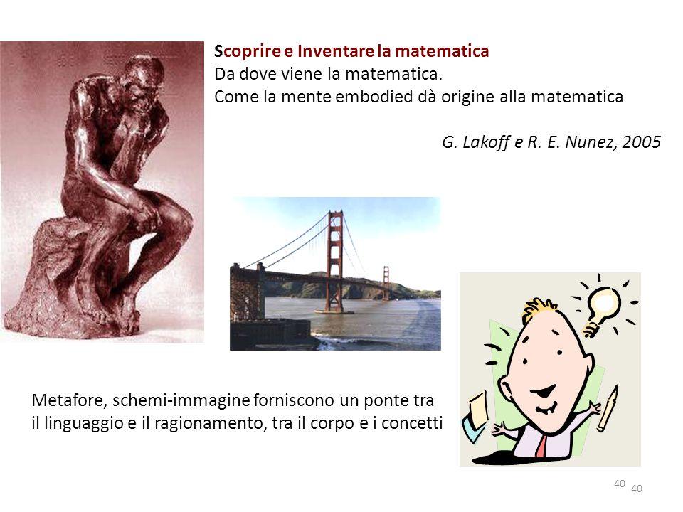 Scoprire e Inventare la matematica Da dove viene la matematica.