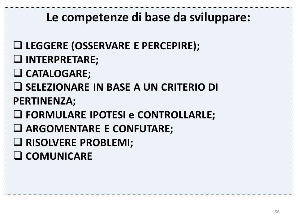 Le competenze di base da sviluppare: